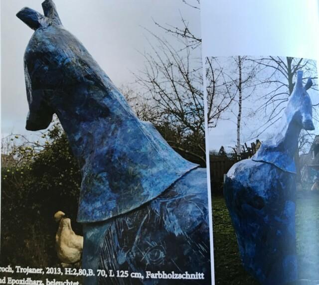 Troch, Trojaner.....beleuchtetes Kunstwerk mit Pferdekopf